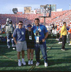 With Tripp and Lisa on the field at 1999 Rose Bowl game